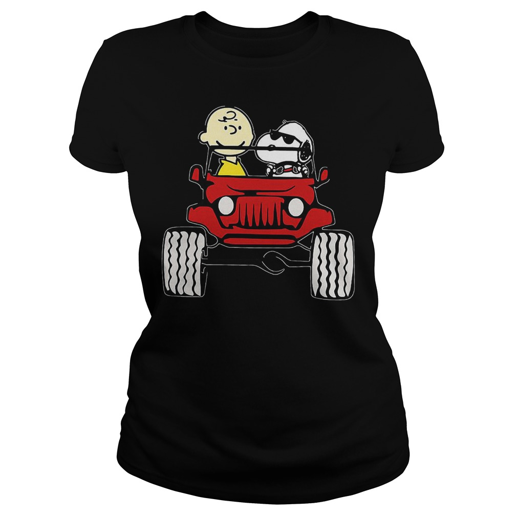 They Are Snoopy And Charlie Brown Drive Jeep In Car T-Shirt Classic Ladies Tee