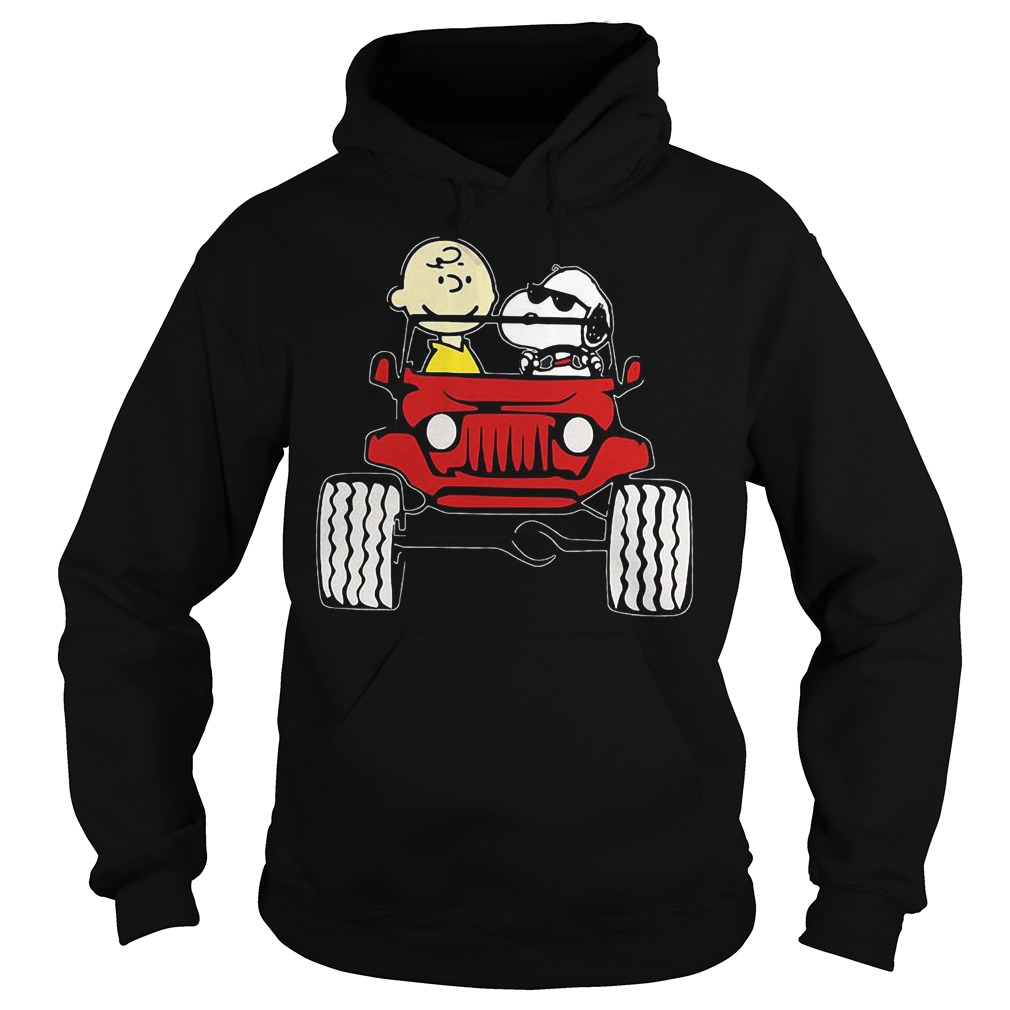 They Are Snoopy And Charlie Brown Drive Jeep In Car T-Shirt Hoodie