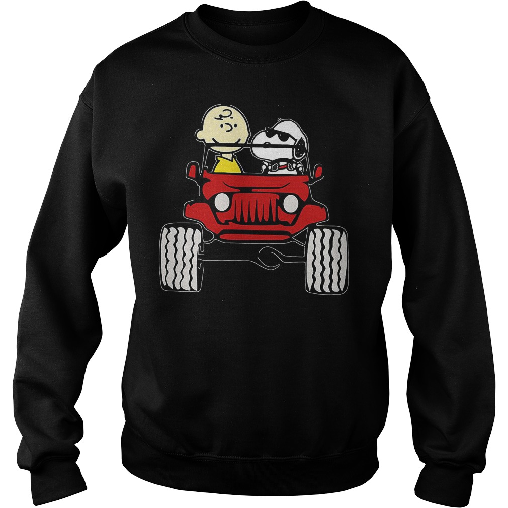 They Are Snoopy And Charlie Brown Drive Jeep In Car T-Shirt Sweatshirt Unisex