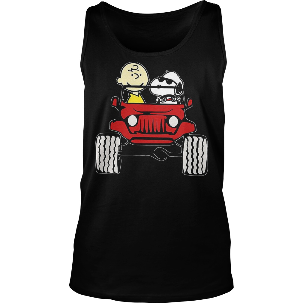 They Are Snoopy And Charlie Brown Drive Jeep In Car T-Shirt Tank Top Unisex