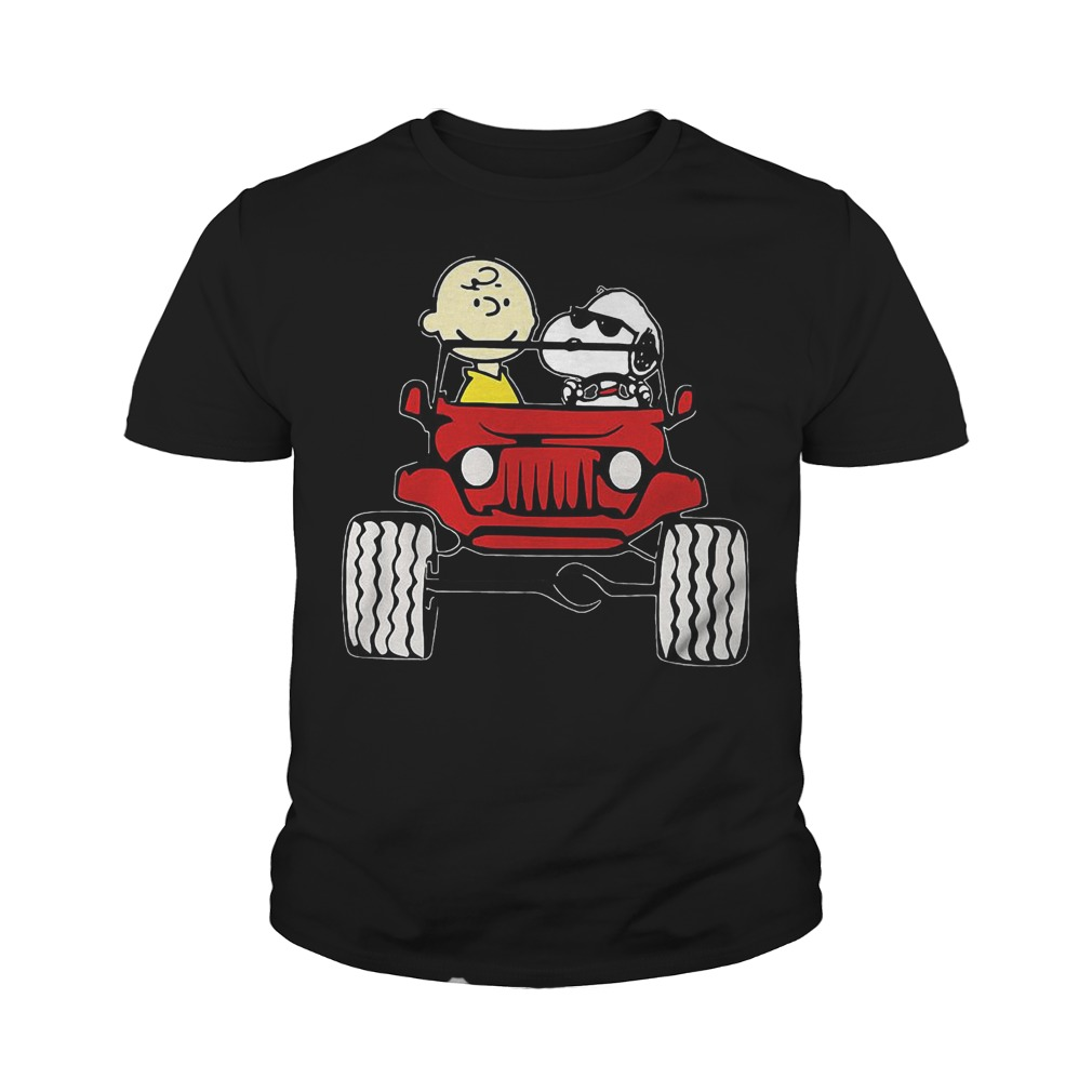 They Are Snoopy And Charlie Brown Drive Jeep In Car T-Shirt Youth Tee