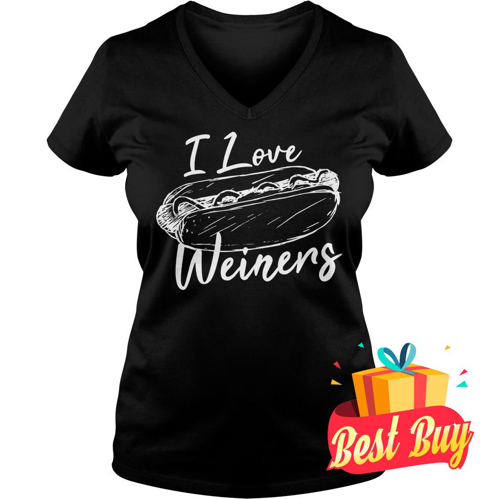 Best Price I Love Weiners Hot Dog Shirt Ladies V-Neck