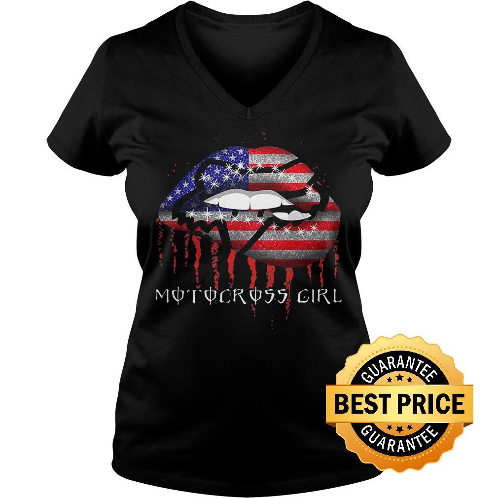 Best Price Motocross girl lips shirt Ladies V-Neck