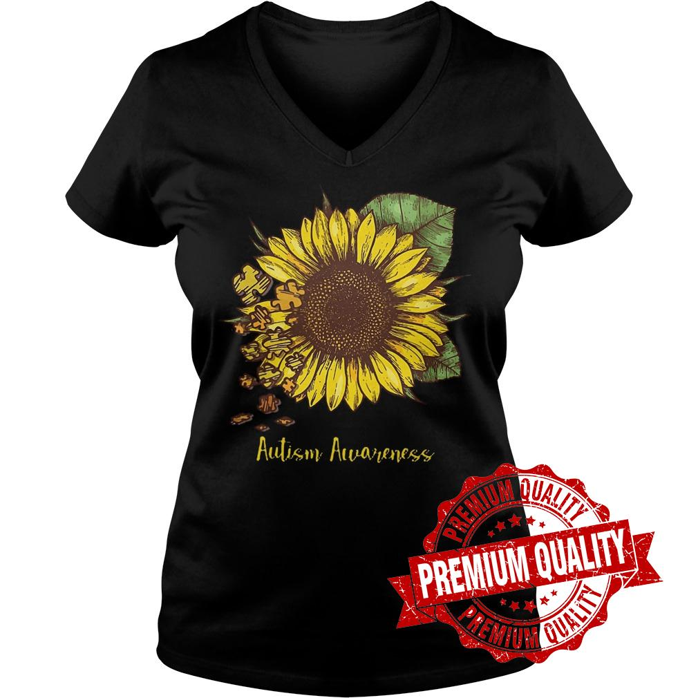 Premium Sunflower Autism Awareness shirt Ladies V-Neck