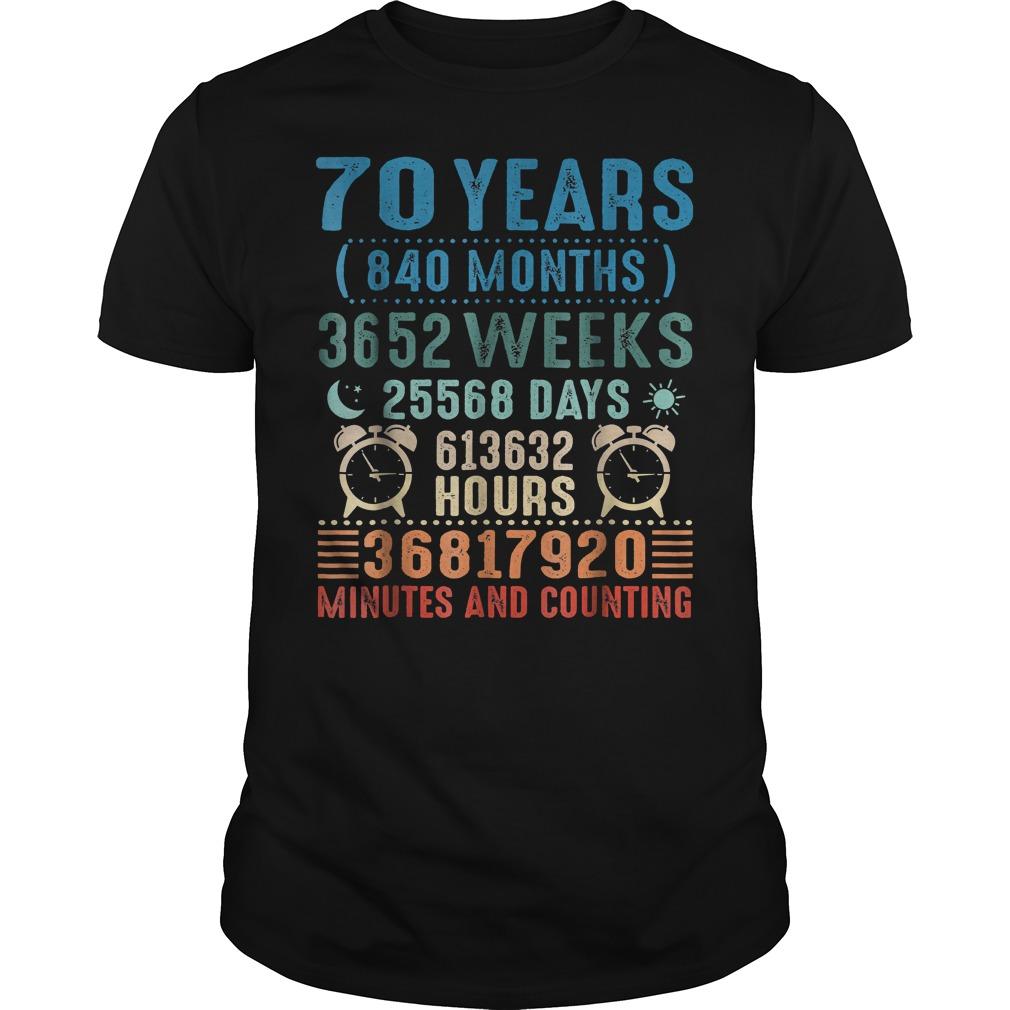 70 Years Old Birthday Vintage 840 Months shirt