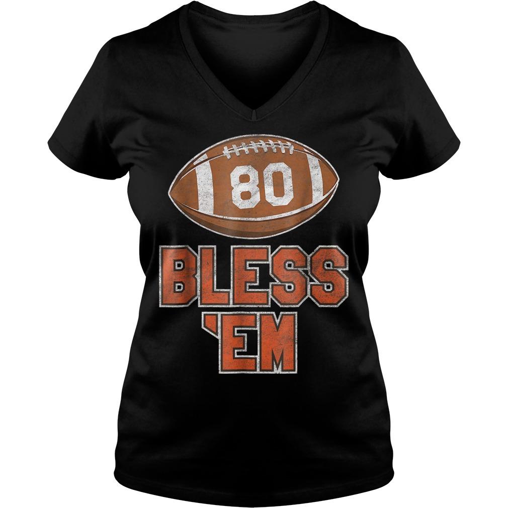 Browns Football Vintage Bless 'Em Shirt Ladies V-Neck