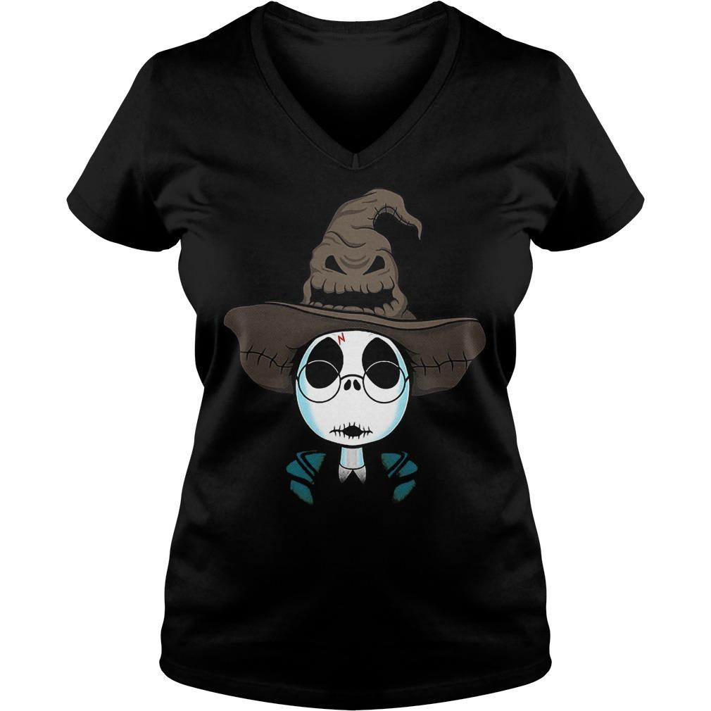 Halloween Jack Skellington Nightmare Harry Potter shirt Ladies V-Neck