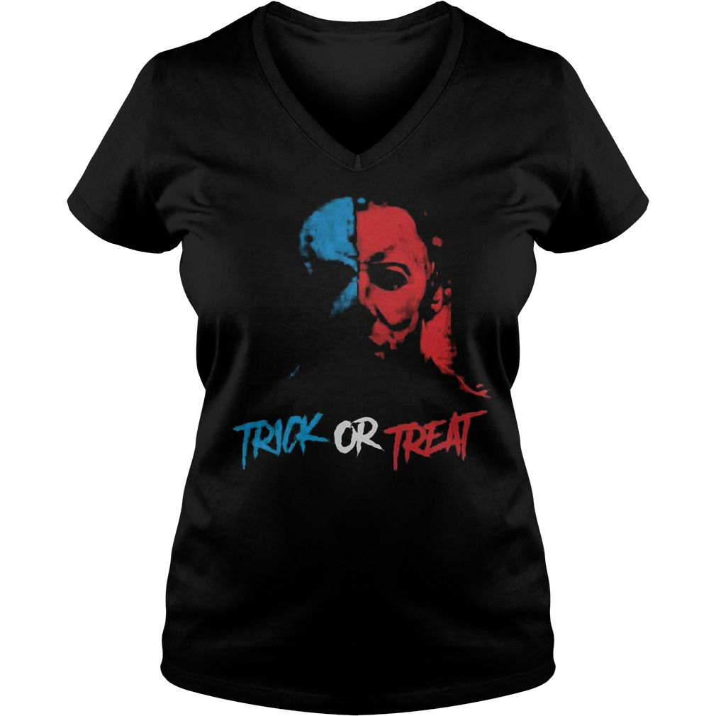 Halloween Jason face trick or treat Shirt Ladies V-Neck