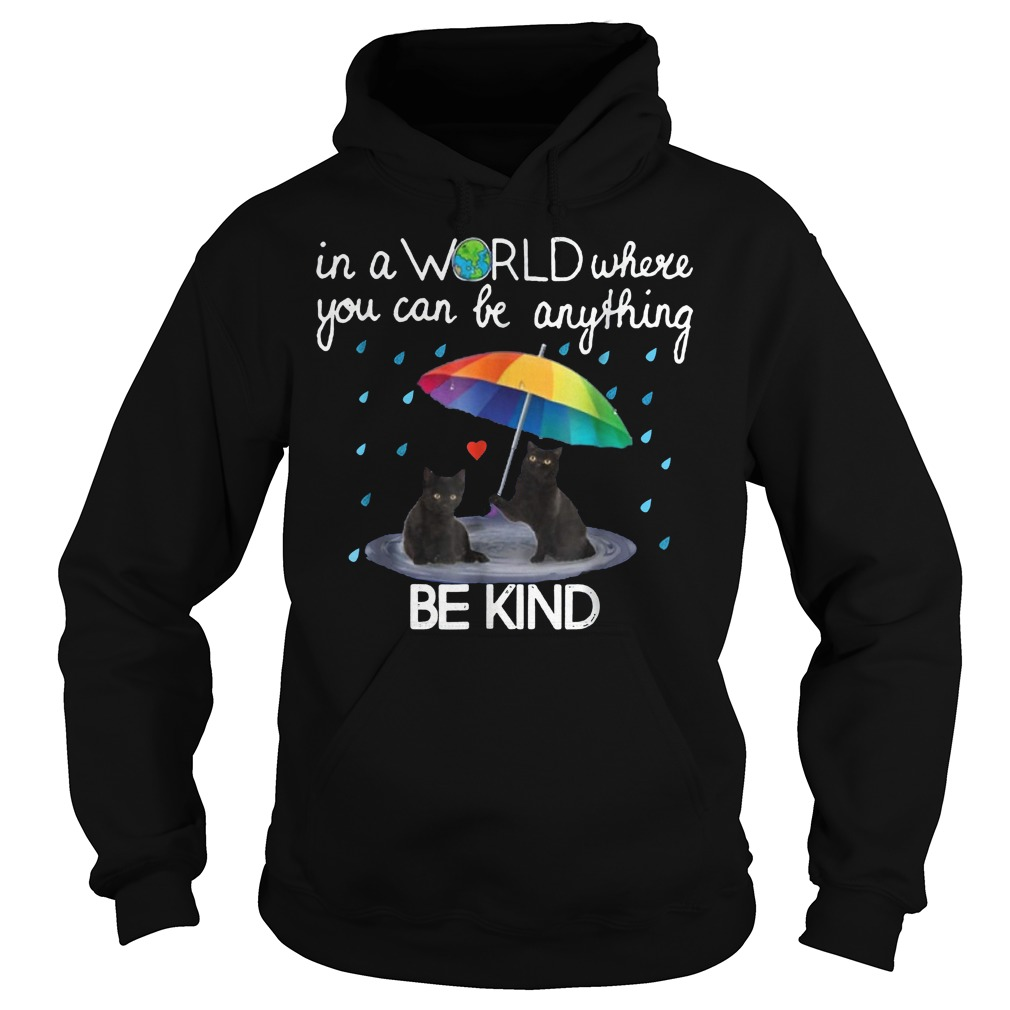In a world where you can be anything be kind black cat shirt Hoodie