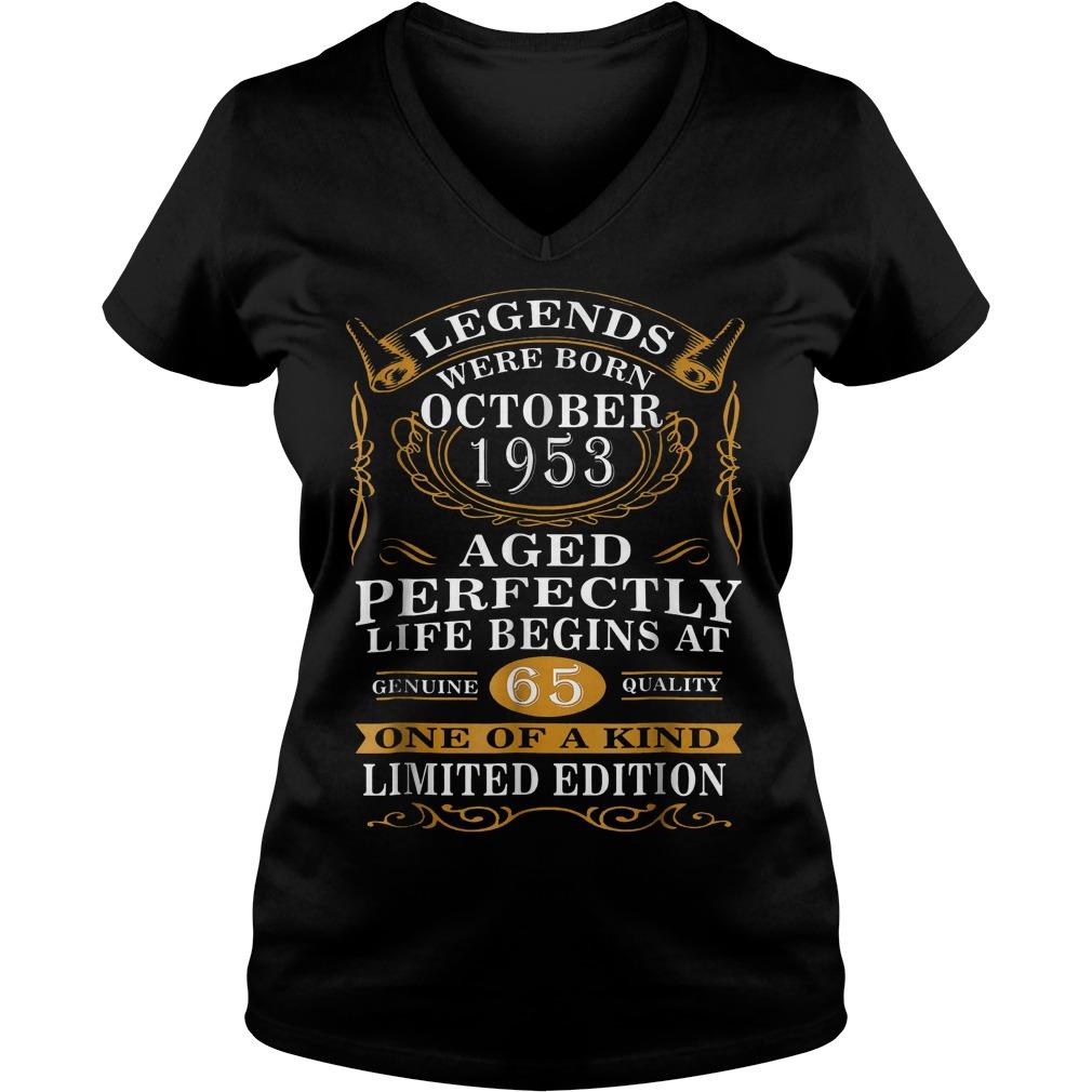 Legends were born in october 1953 65th birthday shirt Ladies V-Neck