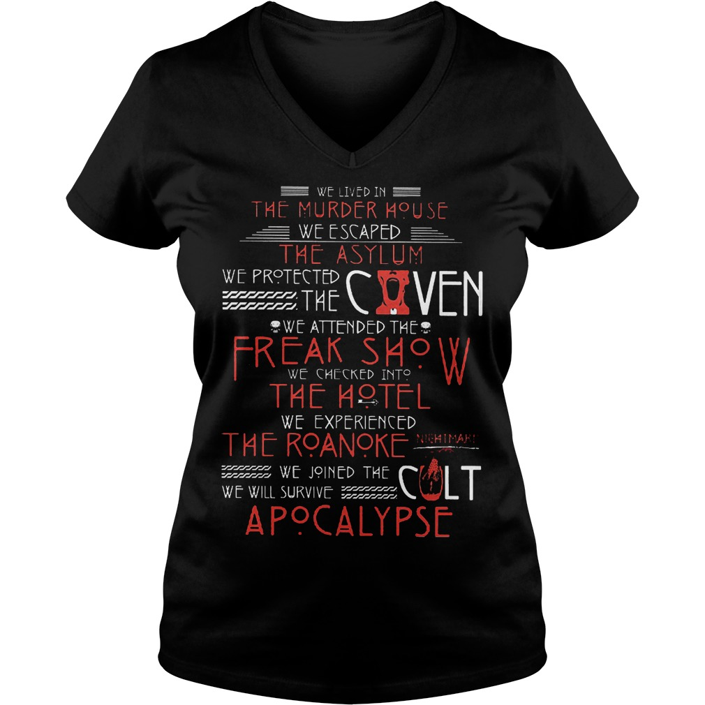 We lived in the murder house we escaped the asylum we protect the coven shirt Ladies V-Neck