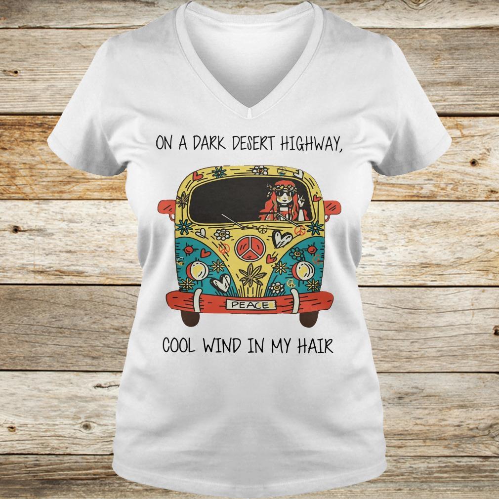 Best price Hippie car on a dark desert highway cool wind in my hair shirt Ladies V-Neck