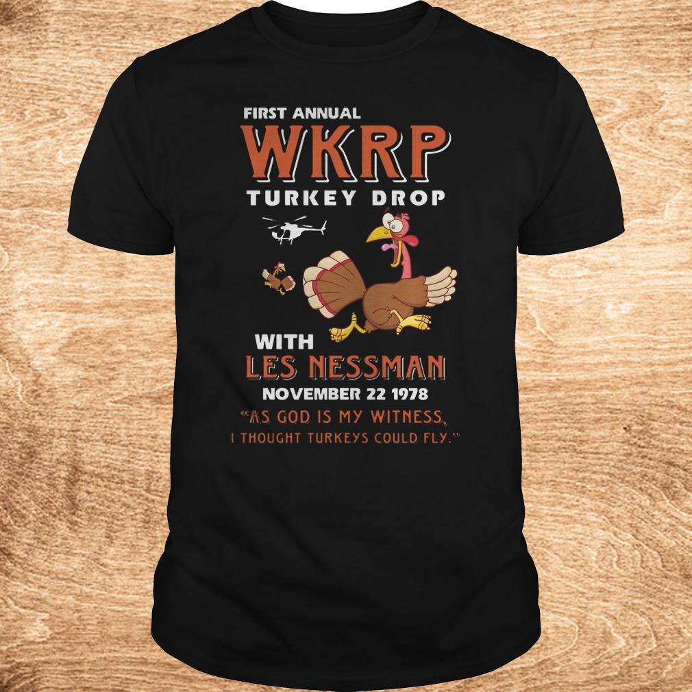 Official Thankgiving First Annual WKRP Turkey drop with les nessman shirt Classic Guys / Unisex Tee