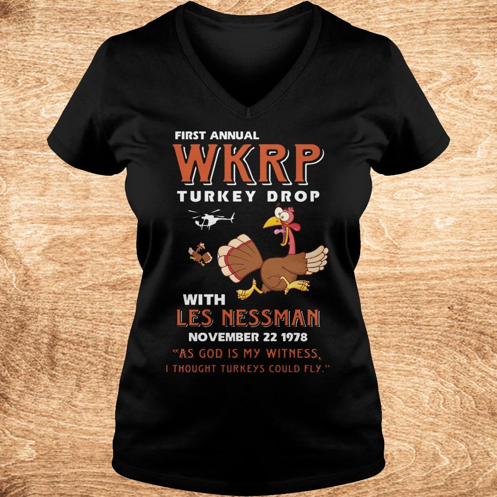 Official Thankgiving First Annual WKRP Turkey drop with les nessman shirt Ladies V-Neck