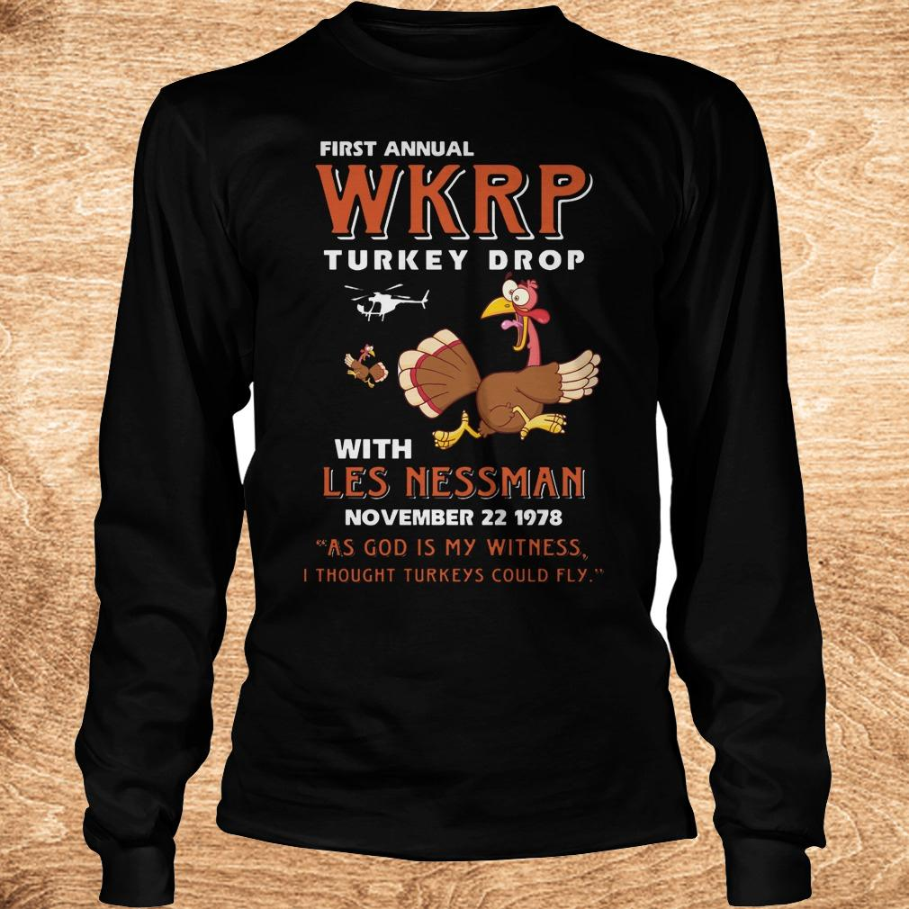Official Thankgiving First Annual WKRP Turkey drop with les nessman shirt Longsleeve Tee Unisex