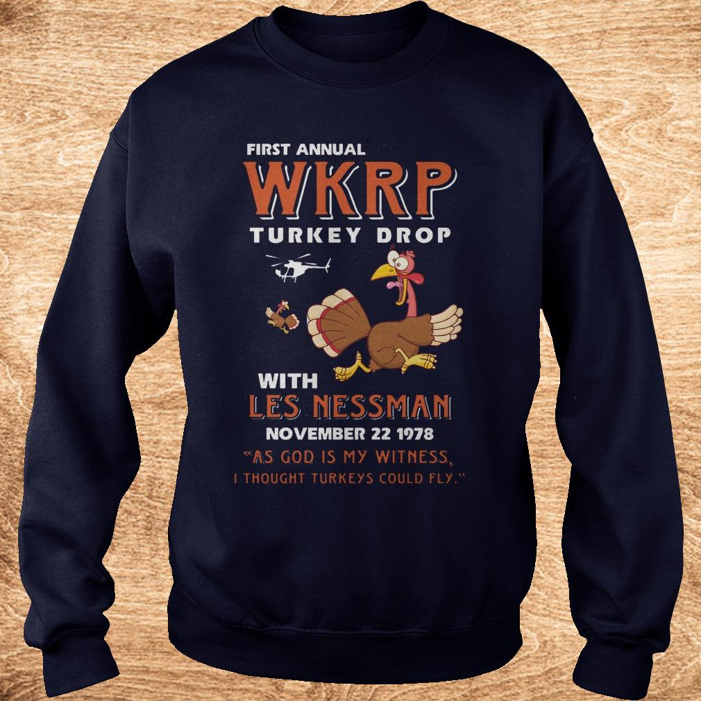 Official Thankgiving First Annual WKRP Turkey drop with les nessman shirt