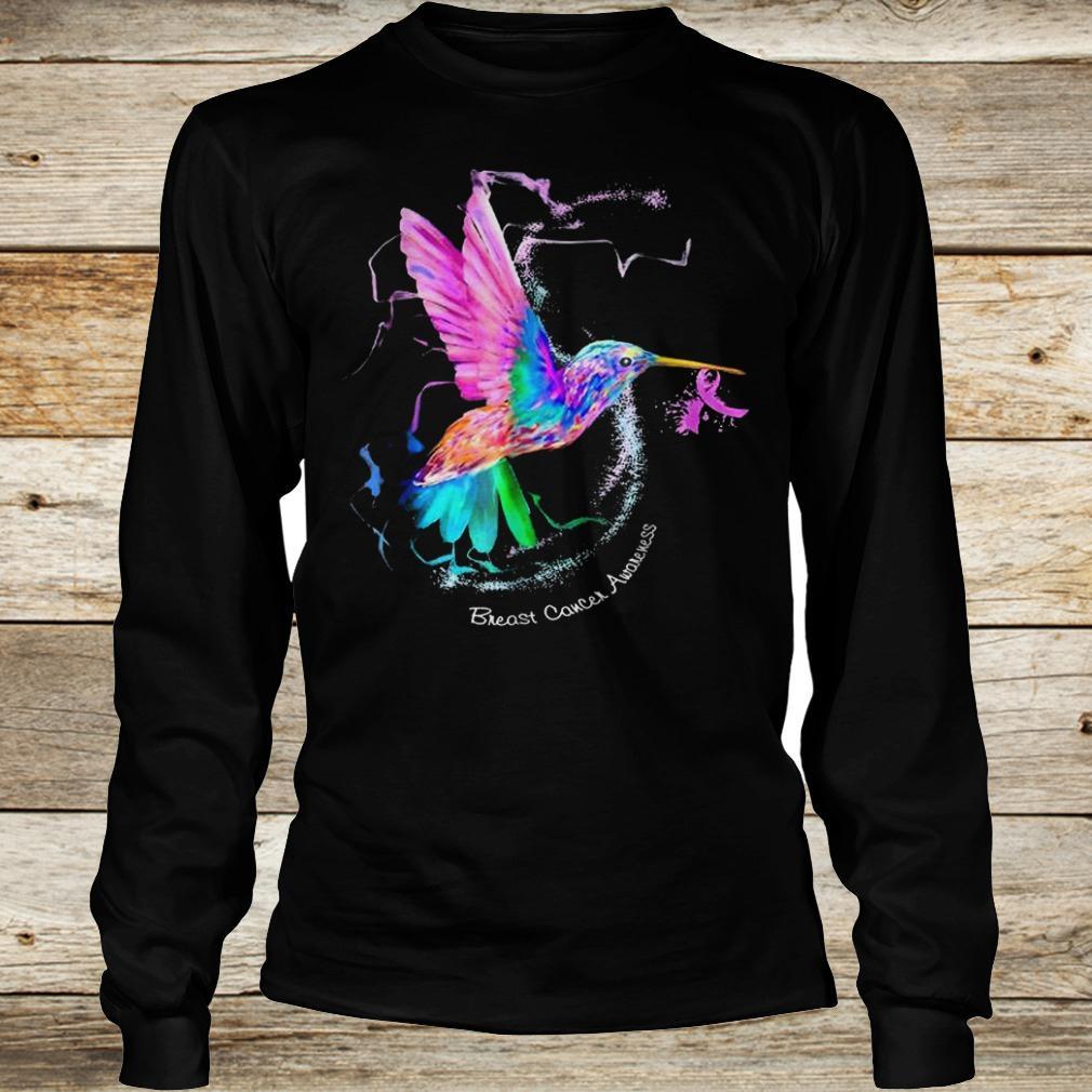 Original Hummingbird ribbon breast cancer awareness Shirt Longsleeve Tee Unisex