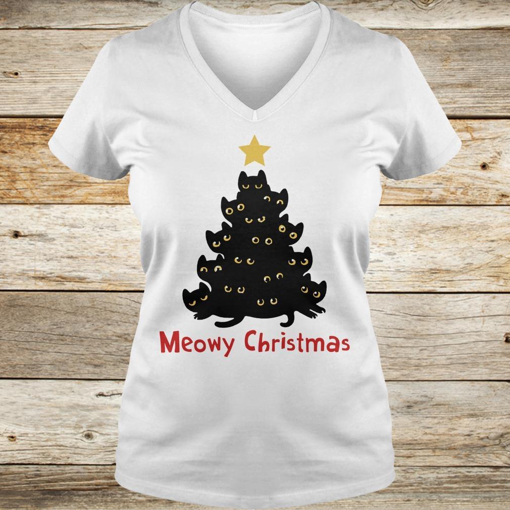 Awesome Christmas Tree Cat Meowy sweatshirt Ladies V-Neck