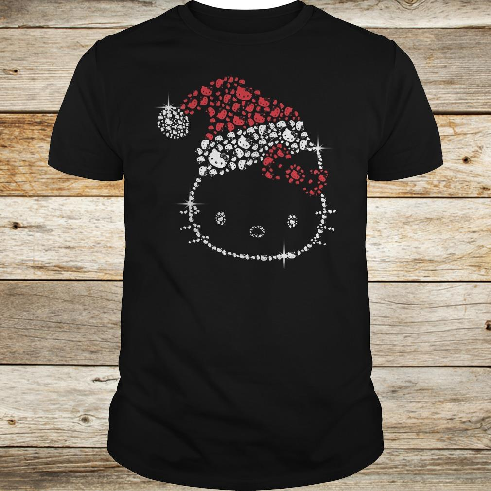 Funny Hello Kitty Santa Hat Rhinestone shirt Classic Guys / Unisex Tee