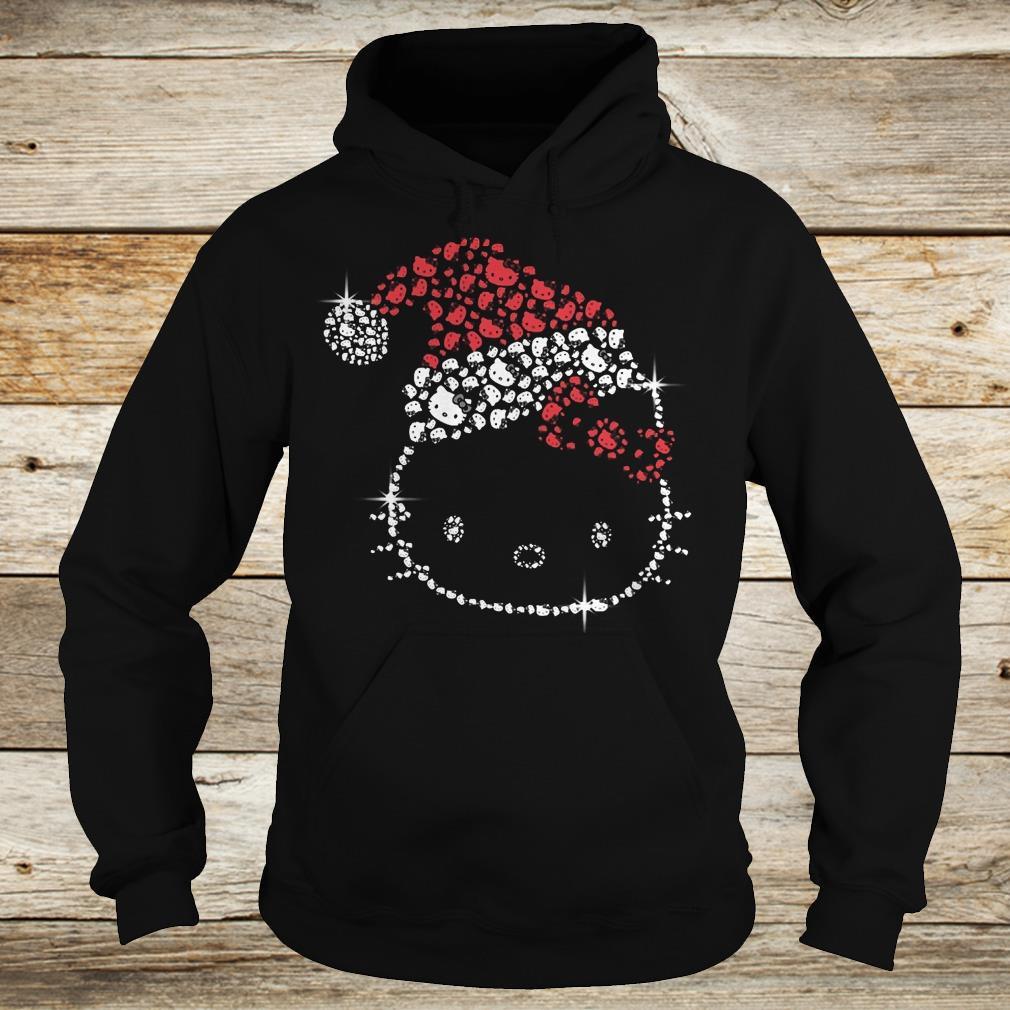 Funny Hello Kitty Santa Hat Rhinestone shirt Hoodie
