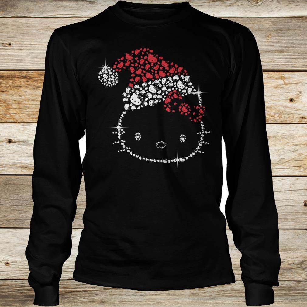 Funny Hello Kitty Santa Hat Rhinestone shirt Longsleeve Tee Unisex
