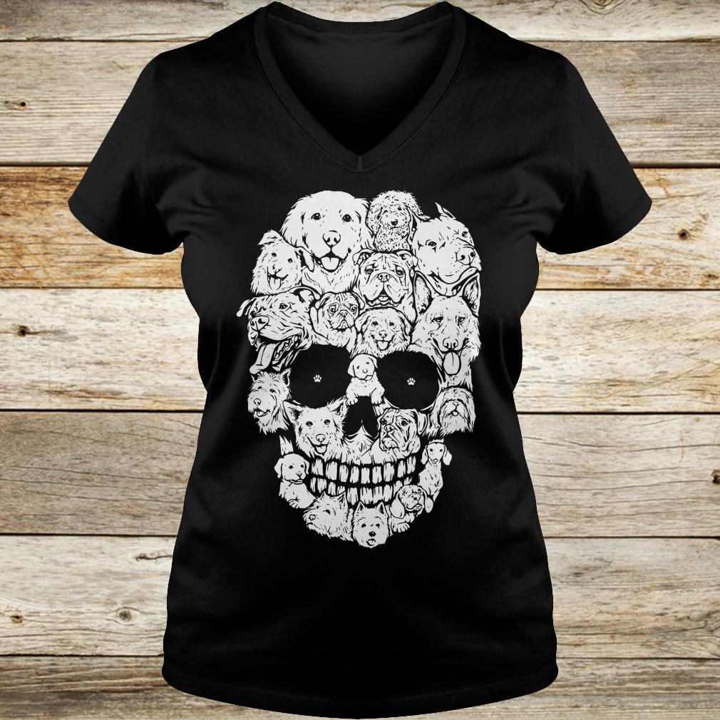 Official Dogs stacked into skull shirt Ladies V-Neck