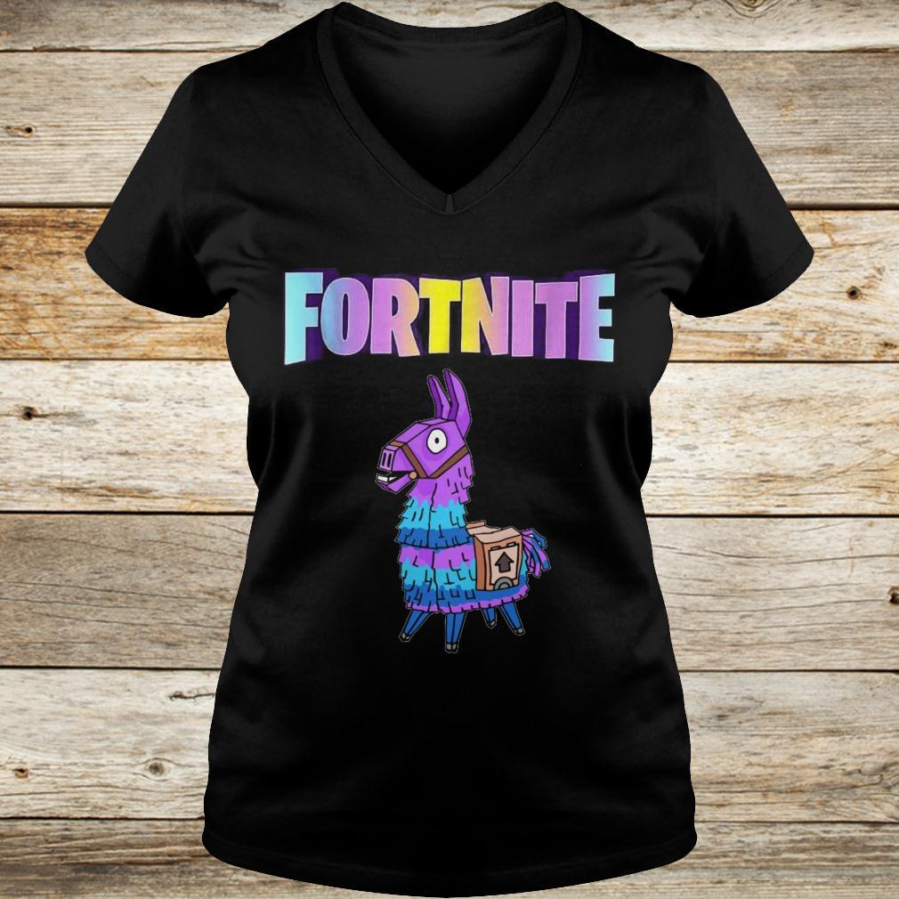 Original Fortnite Unicorn Llama shirt Ladies V-Neck