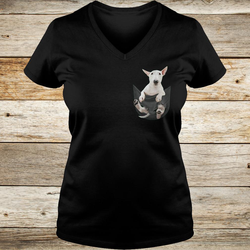 Premium Bull Terrier inside black Tiny Pocket shirt Ladies V-Neck