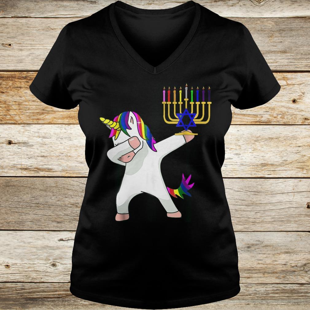 Premium Unicorn Dabbing Hanukkah shirt Ladies V-Neck