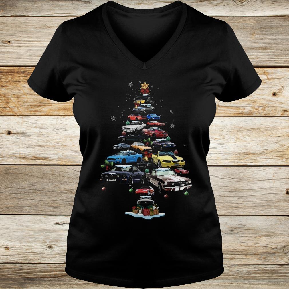 The best Mustang Car Christmas Tree sweatshirt Ladies V-Neck