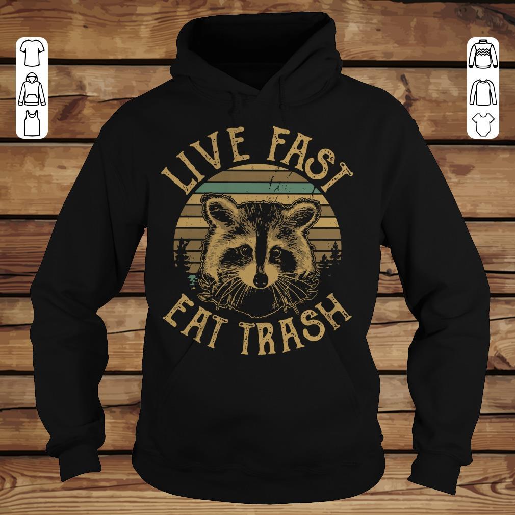 Premium Sunset Camping Live fast eat trash Raccoon shirt hoodie Hoodie