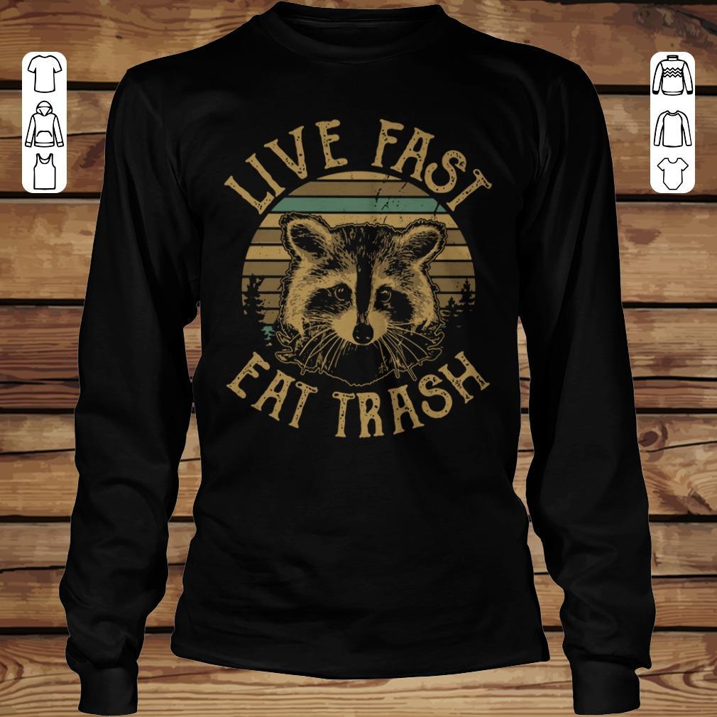 Premium Sunset Camping Live fast eat trash Raccoon shirt hoodie Longsleeve Tee Unisex