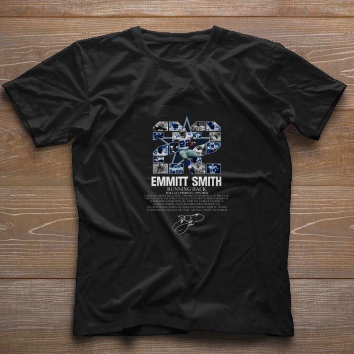 Awesome 22 Emmitt Smith Running Back Dallas Cowboys 1990 2002 Signature Shirt 1 1.jpg