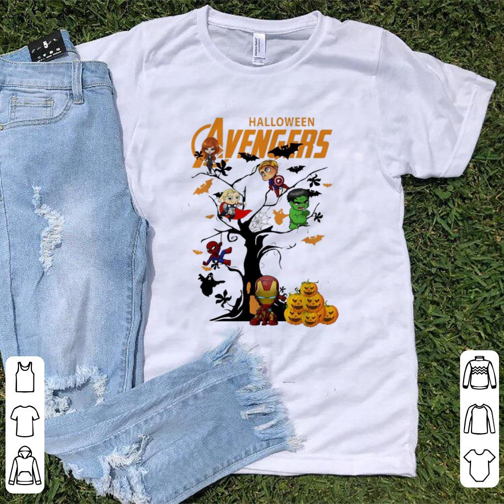 Original Avengers Character On Halloween Tree Shirt 1 1.jpg