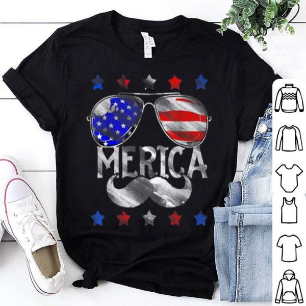 4th Of July Merica America Flag Mustache shirt