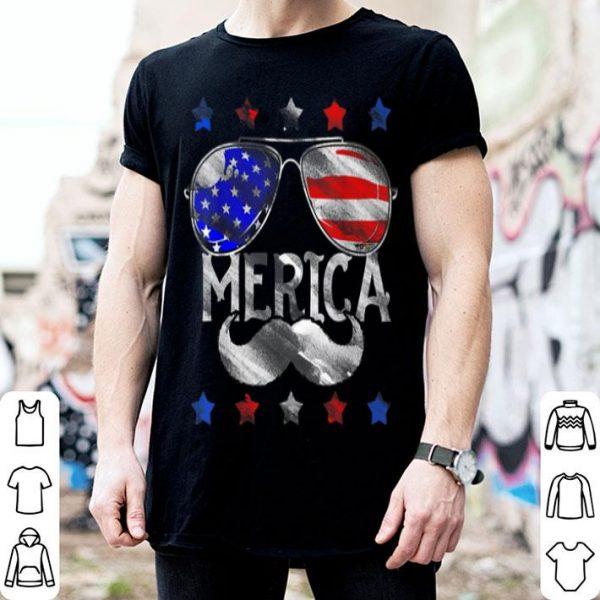 4th Of July Merica America Flag Mustache shirt