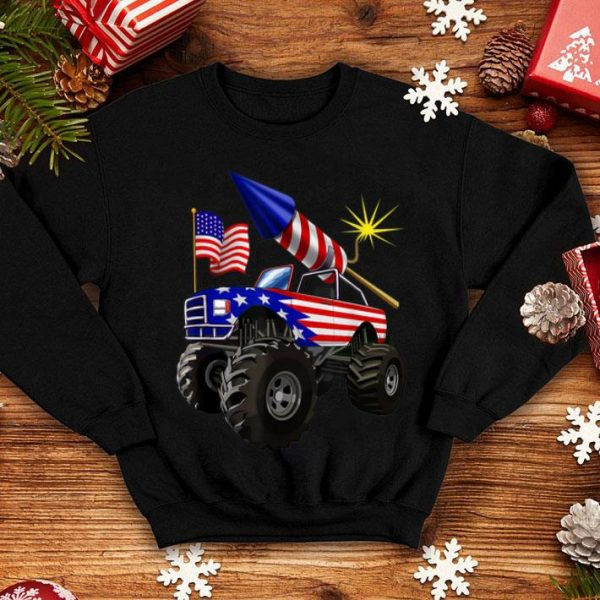 4th Of July Monster Truck American Flag Gift Shirt