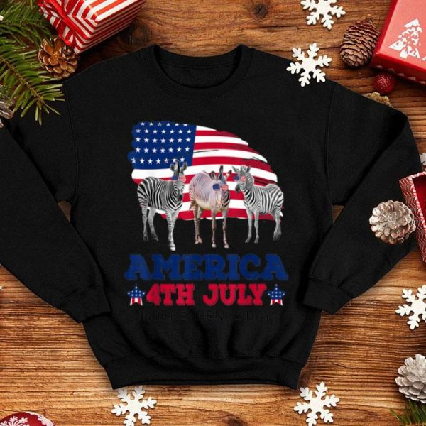 America 4th of july independence day zebra shirt