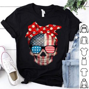 American Flag Wear Red Bandana Bow Ribbon Sugar Skull shirt