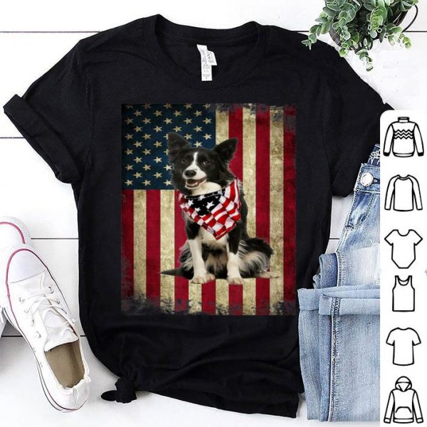 Border Collie America Flag 4th Of July Independence Day Shirt