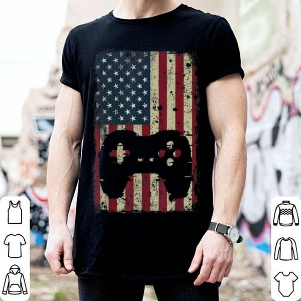 Gaming 4th of july vintage american flag shirt