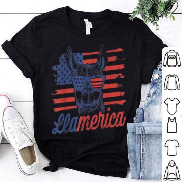 Llamerica Patriotic American Llama US Flag 4th of July shirt
