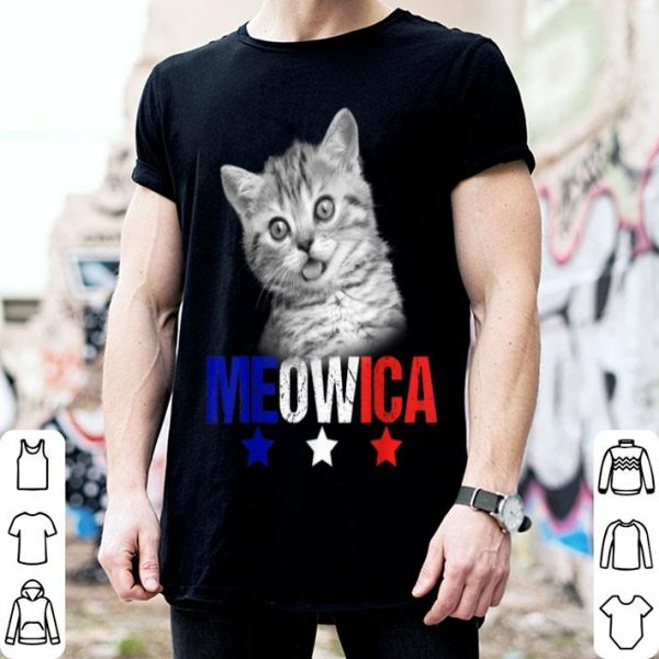Meowica Cat American Flag Sunglasses 4th Of July Happy Indpendence Day shirt