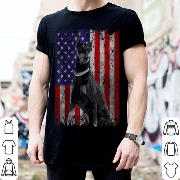 Patriotic Doberman Pinscher American Flag Dog Gifts Shirt