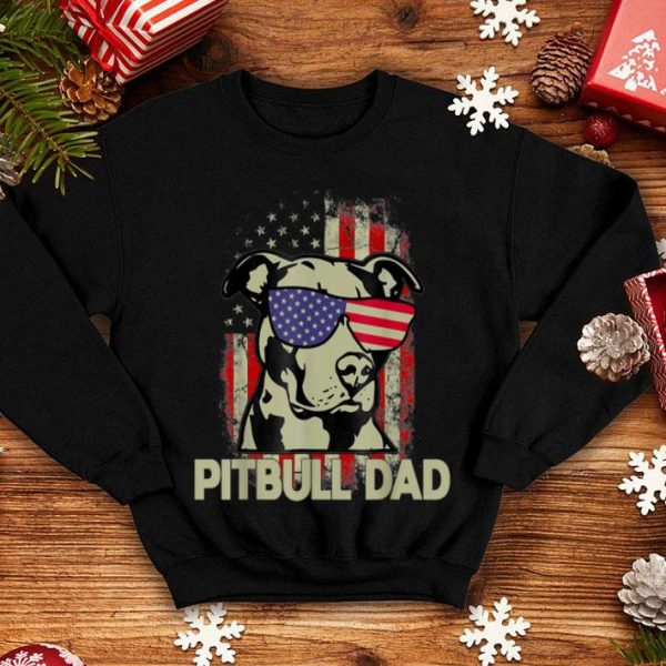 Pitbull Dad 4th Of July American Flag Gifts Shirt