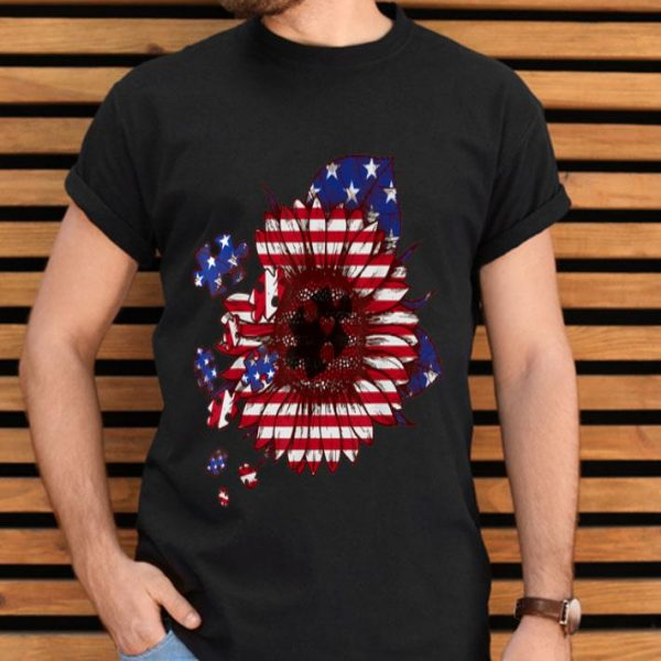 Puzzle USA Flag Sunflower Autism Awareness 4th Of July shirt