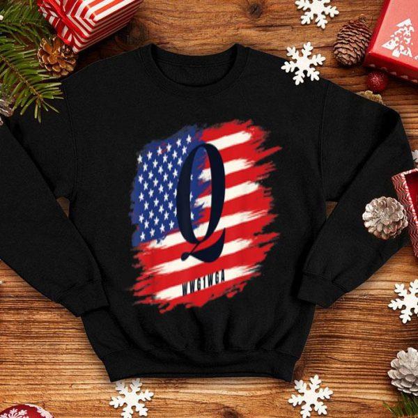 Qanon WWG1WGA American Flag Distressed shirt
