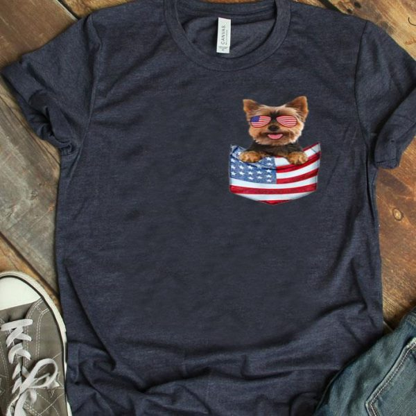 Yorkshire Terrier Yorkie In Us Flag Pocket 4th July shirt