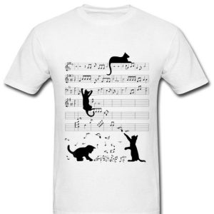 Cute Cat Kitty Playing Music Note Clef Musician Art shirt