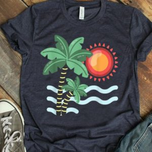 Sunset Beach Palm Tree Funny Summer Vacation Holiday shirt